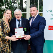 Ken Strong, 2019 Volunteer of the Year for Co. Tyrone, with Mary O'Connor and Richie Gernin